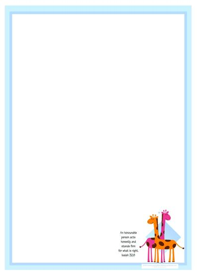 Giraffe Free Printable Stationery with Bible Verse for Kids A4