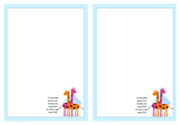 Giraffe Free Printable Stationery with Bible Verse for Kids (2 per A4 page)