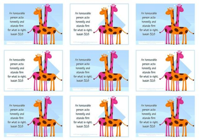 Giraffe Free Printable Bible Verse Wallet Cards for Kids A4