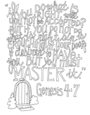 Scripture Doodle colouring page for kids Genesis 4:7 free printable