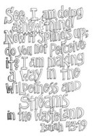 Scripture Doodle colouring page for kids Isaiah 43:19 free printable