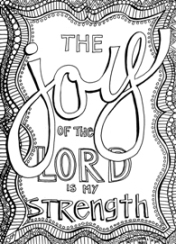 FREE Scripture Doodle colouring page for kids; Nehemiah 8:10