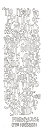 Scripture doodle Bible verse colouring page or bookmark; Proverbs 3:26; free printable