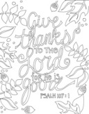 Scripture Doodle colouring page for kids Psalm 107:1 free printable