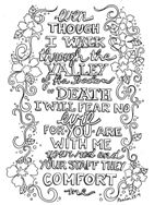 Scripture Doodle colouring page for kids Psalm 23:4 free printable