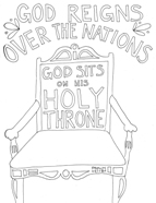 Scripture doodle Bible verse colouring page Psalm 47:8; free printable