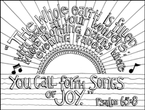 Scripture Doodle colouring page for kids Psalm 65:8 free printable
