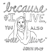 Scripture Doodle colouring page for kids John 14:19 free printable