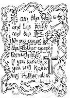 FREE Scripture doodle Bible colouring page; John 14:6-7; free printable