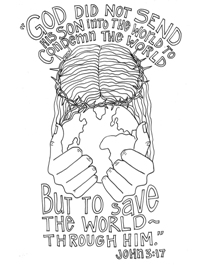 Scripture Doodle colouring page for kids John 3:17 free printable
