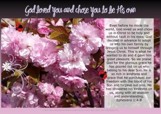 PGFE free printable Spring poster (A4) with Bible verse from Ephesians 1:4-8