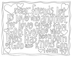 Scripture Doodle colouring page for kids 1 John 4:7 free printable