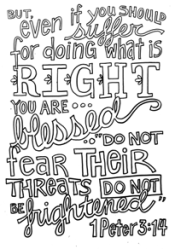 Scripture Doodle colouring page for kids 1 Peter 3:14 free printable