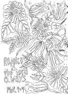 FREE Scripture Doodle colouring page for kids; Philippians 4:4