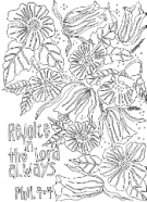 FREE Scripture Doodle colouring page for kids; Philippians 4:4
