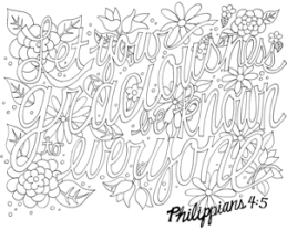 FREE Scripture Doodle colouring page for kids; Philippians 4:5
