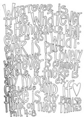 Scripture Doodle colouring page for kids Philippians 4:8 free printable