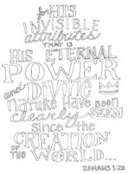 FREE Scripture Doodle colouring page for kids; Romans 1:20