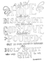 FREE Scripture Doodle colouring page for kids; Romans 5:5