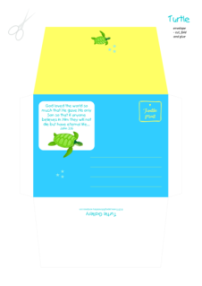 Turtle free printable envelope and matching stationery for kids in bright happy colours