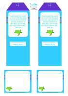 Turtle free printable mini envelopes + mini note cards for kids in bright happy colours