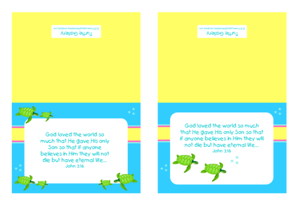 Turtle free printable note cards for kids in bright happy colours
