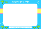 Turtle free printable photo frame for kids in bright happy colours