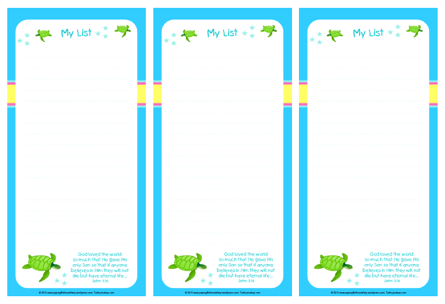 Turtle free printable to do list for kids in bright happy colours