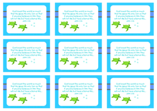 Turtle free printable Bible verse wallet cards and matching stationery for kids in bright happy colours