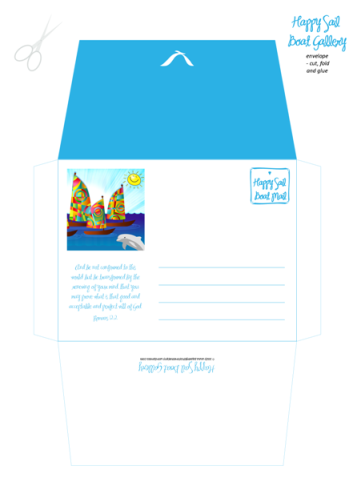 Happy Sail Boats FREE printable Bible Envelope + matching Stationery for kids A4