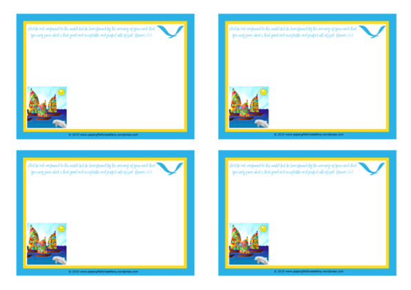 Happy Sail Boats FREE printable Bible Notepaper for kids A4