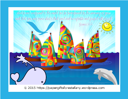 Happy Sail Boats FREE printable Bible Wallet Cards for kids A4