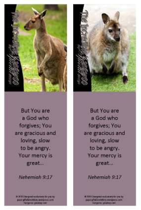 FREE Kangaroo Bookmark with Bible verse Nehemiah 9:17