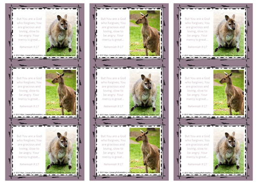 FREE Kangaroo Wallet Cards with Bible verse Nehemiah 9:17