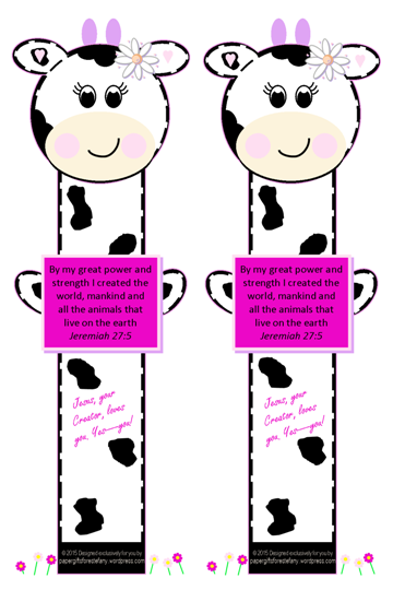 Cute Cow Paw Print Bookmark with Bible Verse Jeremiah 27:5