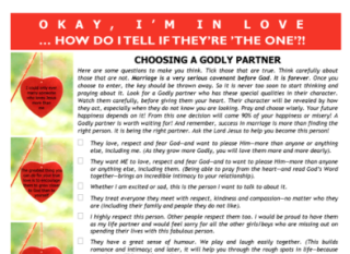 FREE Article for older kids - how to choose a Godly spouse