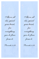 FREE Bible Bookmark Proverbs 4.23 in soft swirly blue