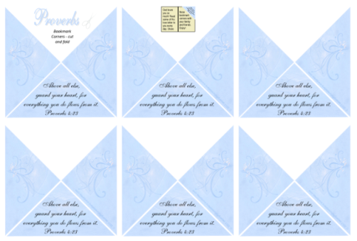 FREE Bible Bookmark Corners; Proverbs 4.23 in soft swirly blue