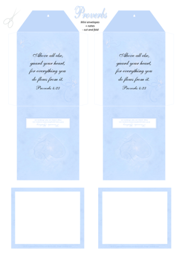 FREE Bible Mini Envelopes + Mini Note Cards; Proverbs 4.23 in soft swirly blue