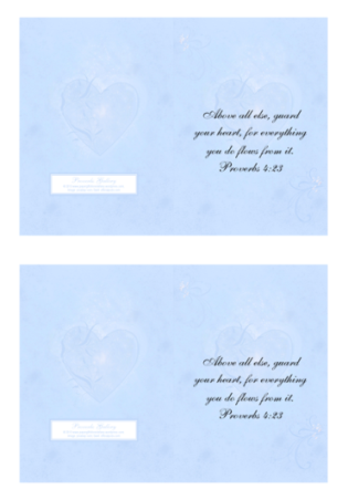 FREE Bible Note Cards; Proverbs 4.23 in soft swirly blue