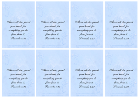 FREE Bible Wallet Cards with Bible verse from Proverbs 4.23 in soft swirly blue