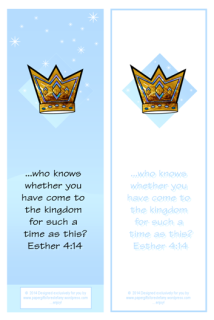 Queen Esther Bible verse bookmark and free printables for kids 4x6