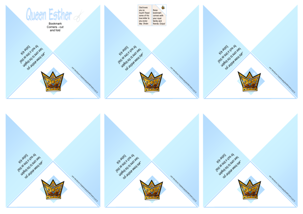 Queen Esther Bible verse bookmark corners and free printables for kids A4