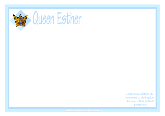 Queen Esther Bible verse coloring page frame border and free printables for kids A4