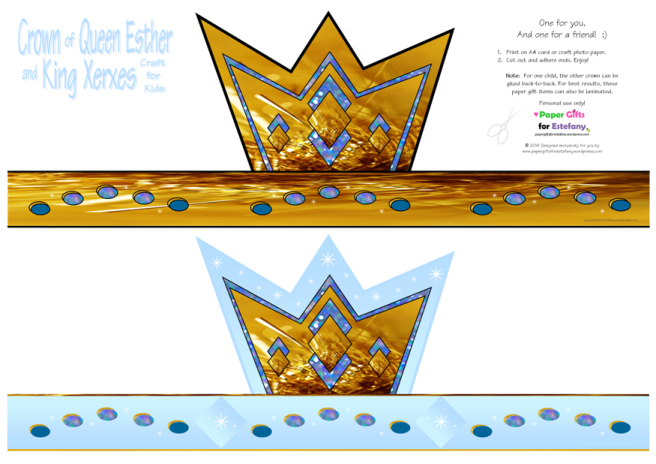 Queen Esther and King Xerxes crown craft and free printables with Bible verse for kids A4