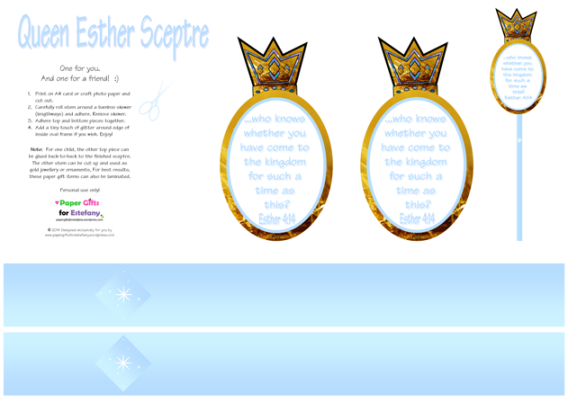 Queen Esther Sceptre craft with Bible verse and free printables for kids A4