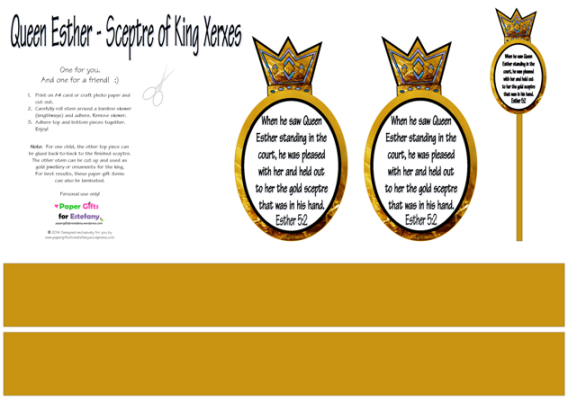 Queen Esther and King Xerxes Sceptre craft with Bible verse and free printables for kids A4