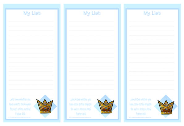 Queen Esther To Do List with Bible verse free printables for kids A4