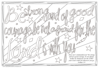 FREE Bible Scripture colouring page doodles for kids Joshua 1:9