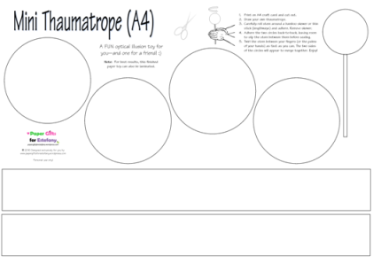 FREE Mini Thaumatrope blank template for kids